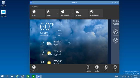 A Windows 10 Metro app running in an actual window!