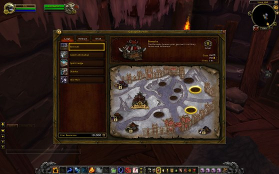 World of Warcraft garrison building screen
