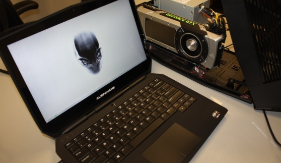 An Alienware 13 with an Alienware Graphics Amplifier