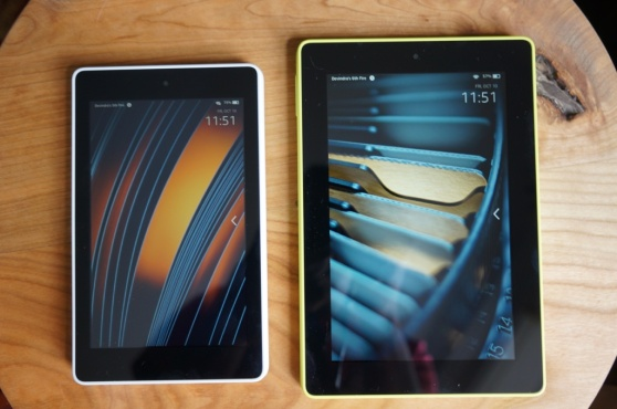 Amazon's Fire HD tablets (2014): 6-inch on the left, 7-inch on the right