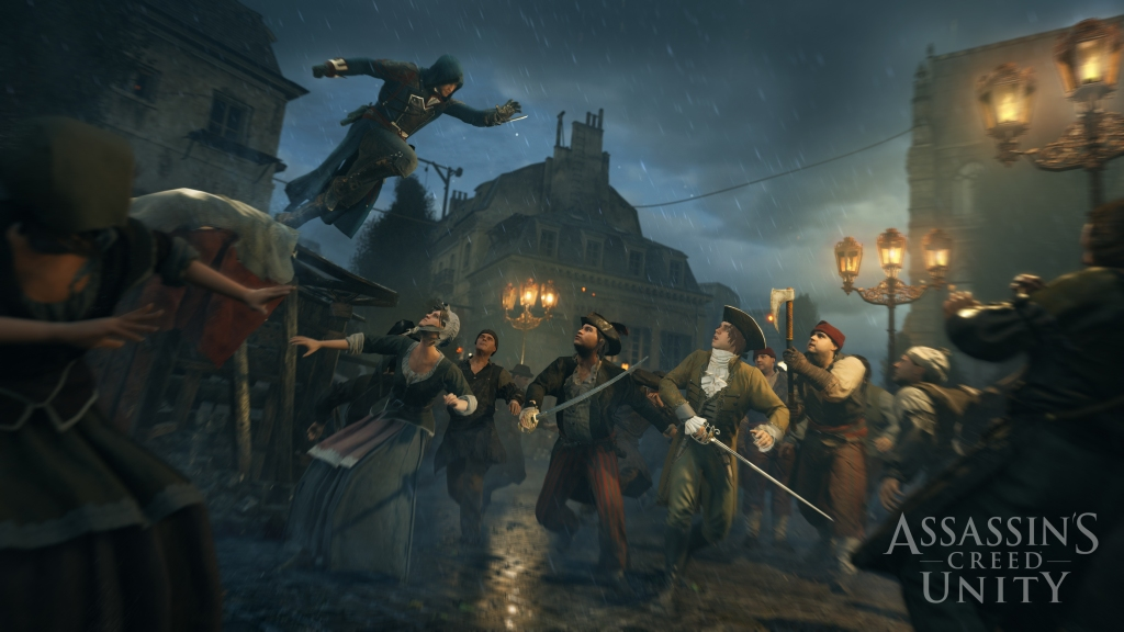 One of the many ways to get through the crowds in Assassin's Creed Unity.
