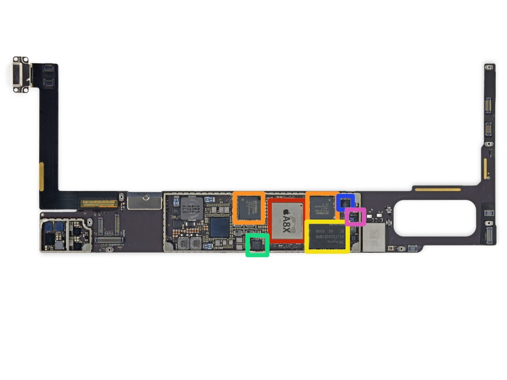 RED = Apple APL1012 A8X 64-bit Processor  ORANGE = Elpida (Micron Technology) F8164A3MD (two identical chips) YELLOW = SK Hynix H2JTDG8UD1BMR 128 Gb (16 GB) NAND Flash GREEN = NXP 65V10 NFC Module (as found in the iPhone 6 and 6 Plus) BLUE = Apple (Cirrus Logic) 338S1213 Audio Codec PURPLE = NXP Semiconductors LPC18B1UK ARM Cortex-M3 Microcontroller (Apple M8 Motion Co-Processor)