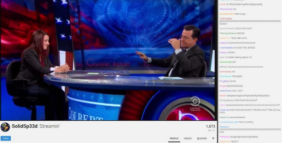 "GamerGate people reacting to Anita Sarkeesian on ""The Colbert Report."""