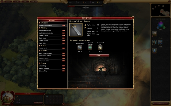 Sorcerer King crafting screen