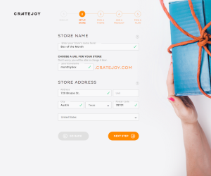 A screenshot of the  setup process for creating a subscription service on Cratejoy.