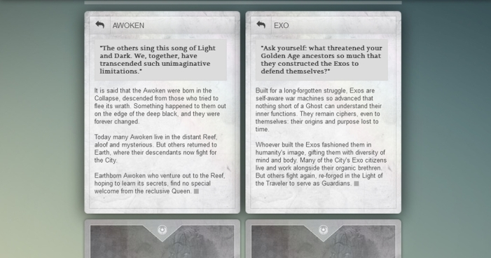 Bungie's online Grimoire tracks all of the lore that you unlock such as these writeups for the Awoken and Exo.