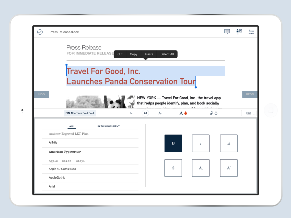 A screen from CloudOn's new doc creation tool for mobile devices.
