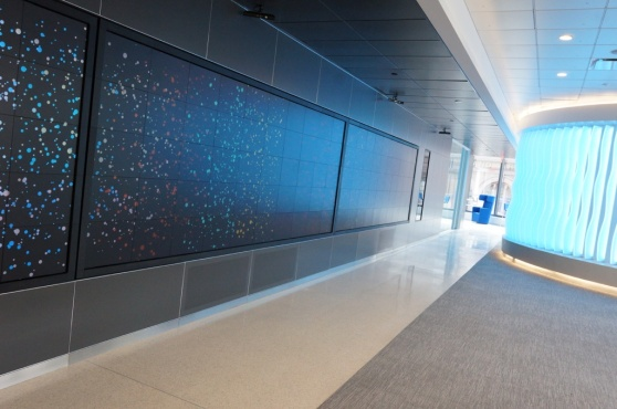 "The Watson HQ's office is filled with giant interactive displays from Oblong Industries (whose founder developed the display interface for ""Minority Report"")"