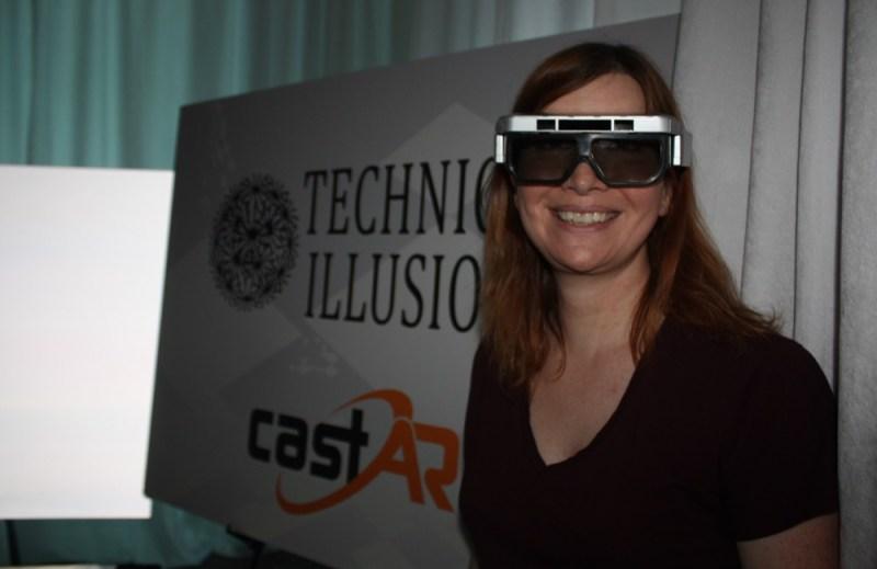 Jeri Ellsworth shows off the latest CastAR prototype.