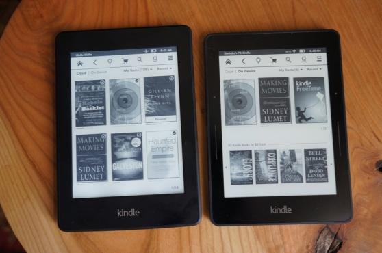 Amazon's Kindle Paperwhite (left) and Kindle Voyage (right)