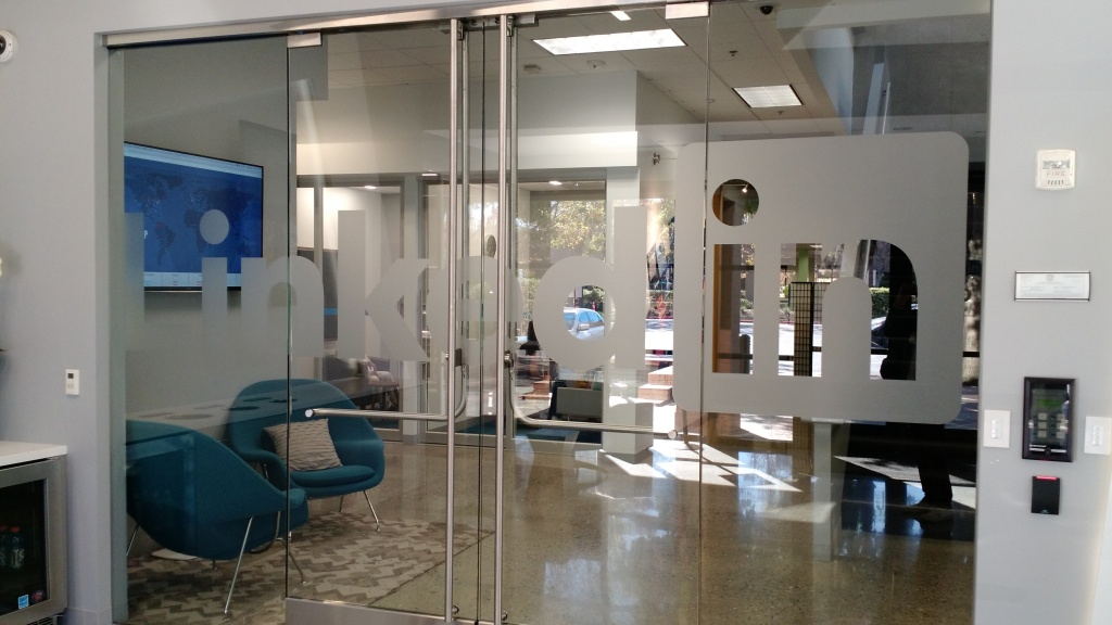 Inside the lobby of a building on LinkedIn's Mountain View, Calif., campus.