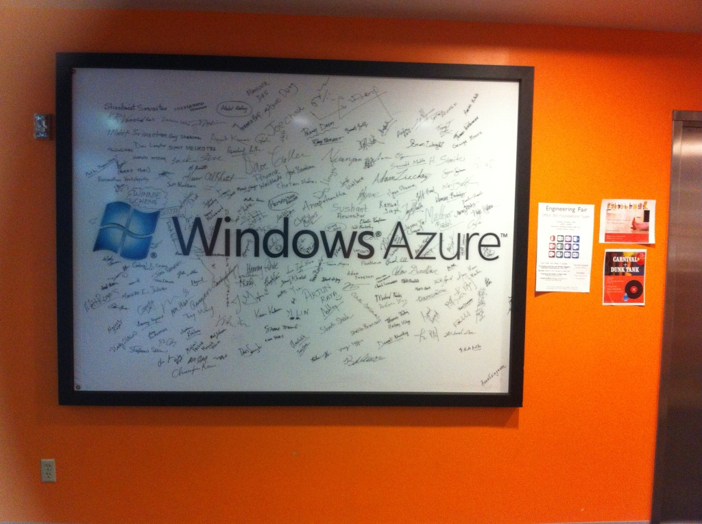 A remnant of the time when Microsoft's public cloud, Azure, carried the Windows moniker in its name hangs in building 42 on the Microsoft campus in Redmond, Wash.