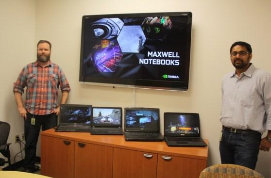 Matt Widener and Kaustubh Sanghani show off Maxwell laptops.