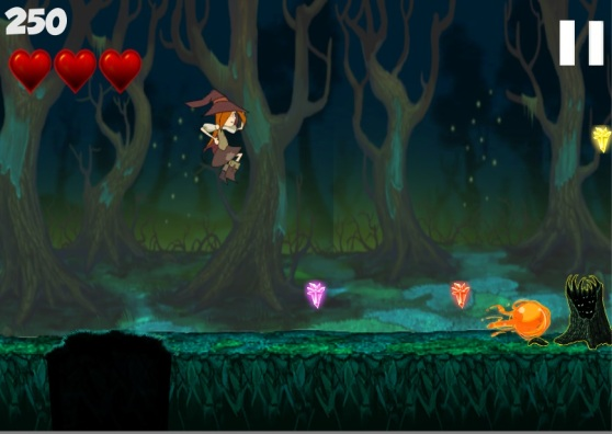 Ella's fireball abilities can be upgraded with crystals recovered in each game stage.
