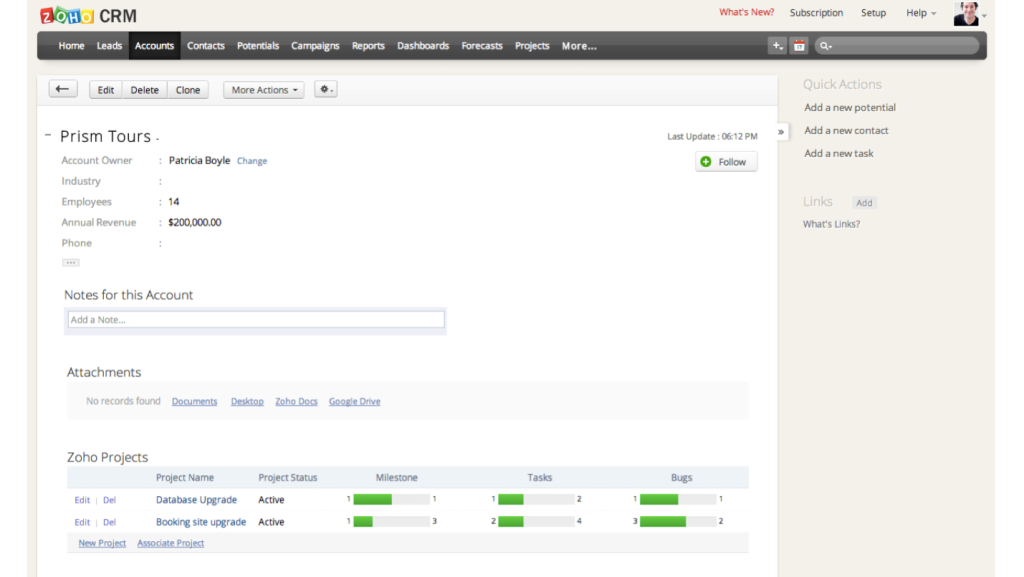 Projects inside the new Zoho CRM Plus