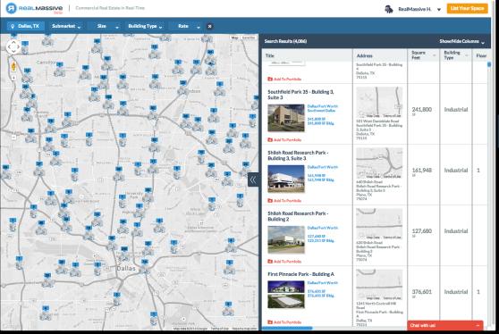 A screenshot of RealMassive's consumer real estate listings map for Dallas.