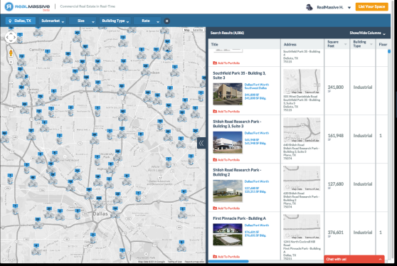 A screenshot of RealMassive's consumer real estate listings map for Dallas.