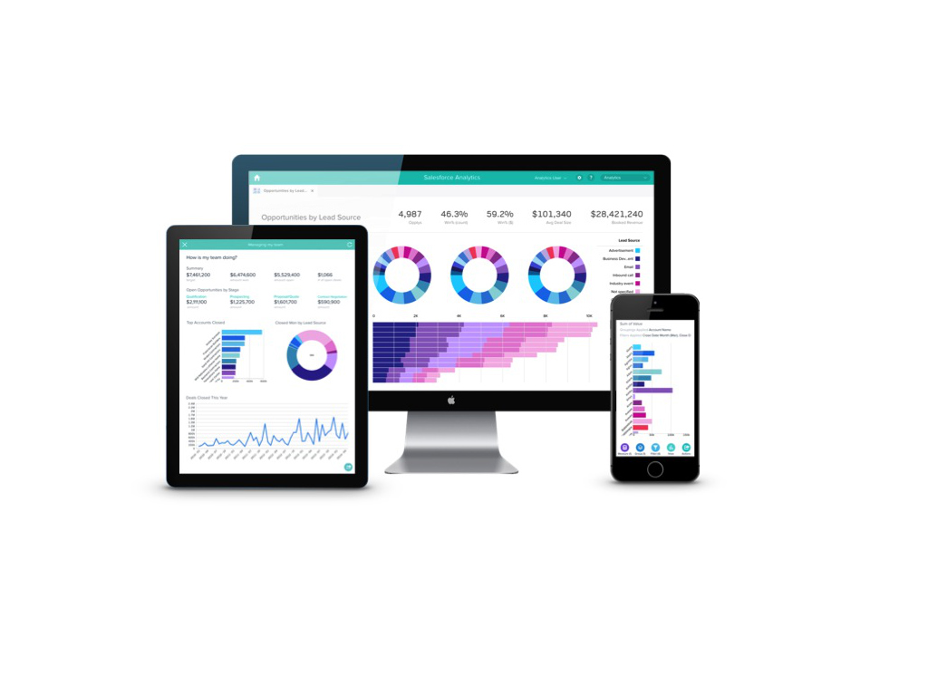 The Salesforce Wave analytics cloud software can run on mobile devices and desktop computers.