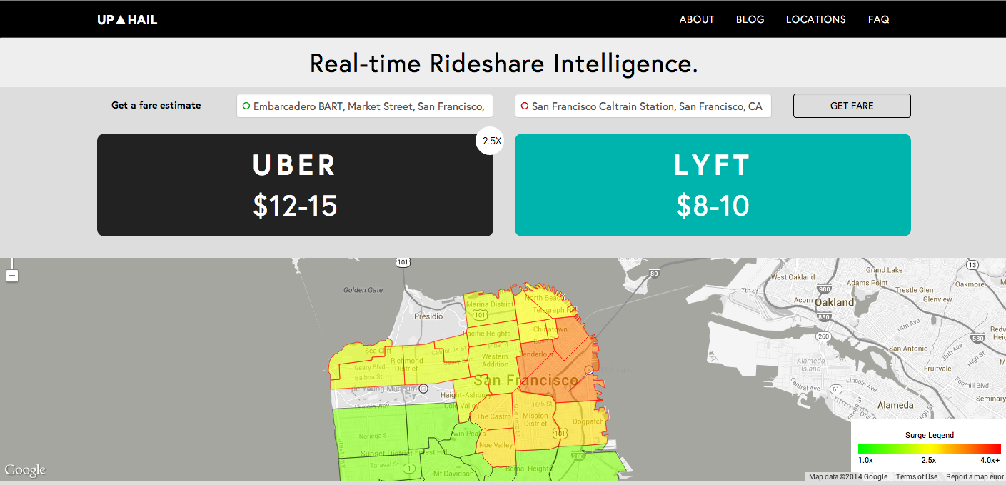 This site will tell you how much your ride will cost with