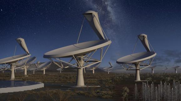 An artist's visualization of the SKA Telescope
