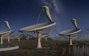 An artist's visualization of the SKA Telescope
