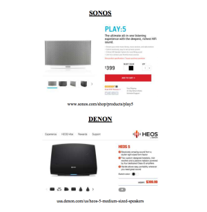 Can you tell the difference? Sonos website product listing sits above a similar layout for the HEOS by Denon site.