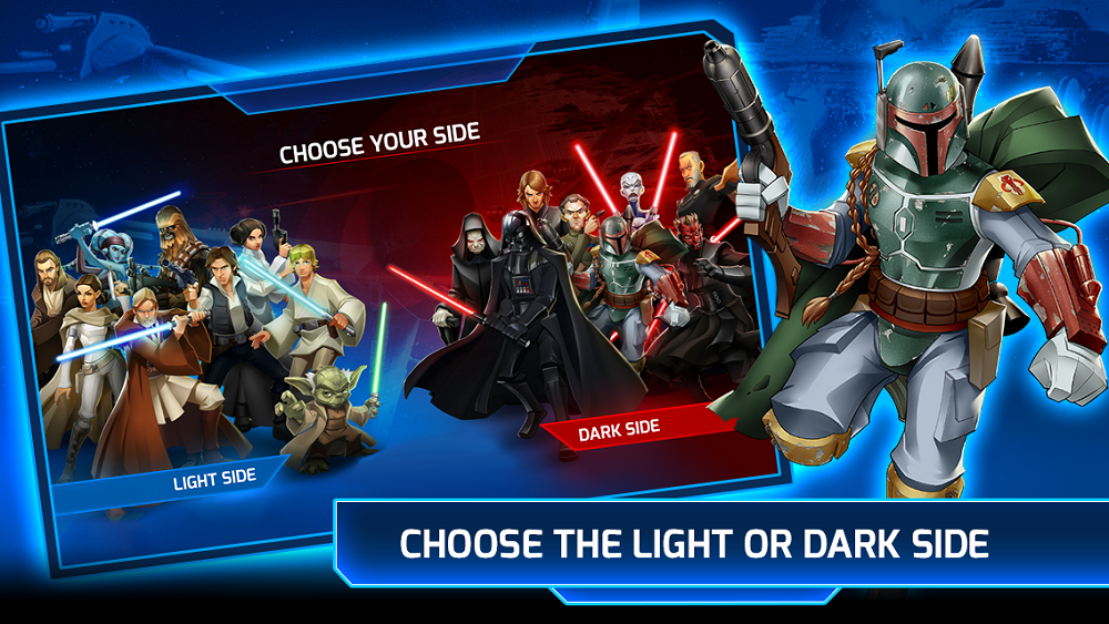 You can play either the Light side or the Dark side in Star Wars: Galactic Defense.