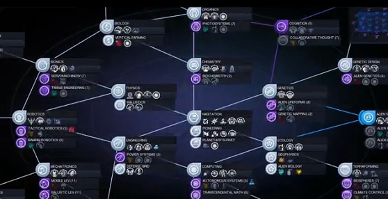 The tech web offers nonlinear R&D in Civilization: Beyond Earth