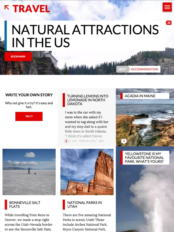 A sample screen from the system-generated Travel section in the StoryBy online magazine.
