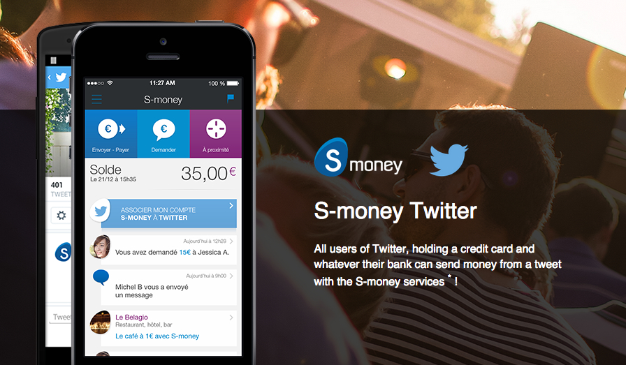 BPCE of France unveiled the ability to pay with Twitter using the bank's S-Money app.