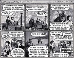 The Terrible Sea Lion, a cartoon from Wondermark.