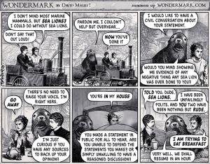 The Terrible Sea Lion, a cartoon from Wondermark.