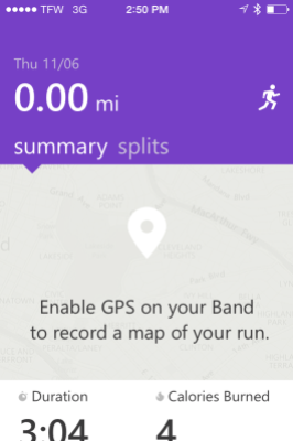 If I could have gotten the GPS radio to connect to the satellite, my run route would have displayed on this screen in the Microsoft Health app.