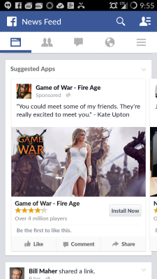 You're likely going to start seeing Kate Upton dressed up as Athena in an ad for Game of War on Facebook.