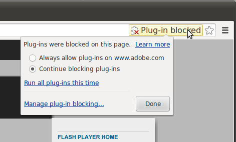 Plugin-blocked yellow slide and bubble