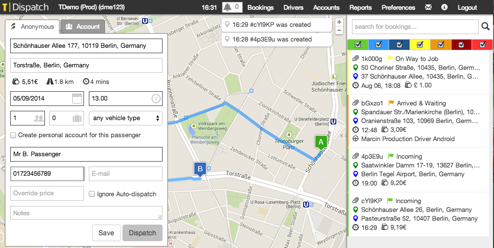 T Dispatch new booking screenshot, with fleet management features.