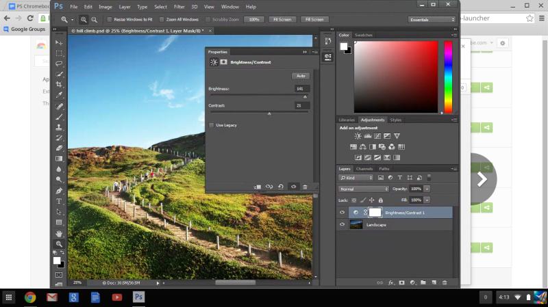 Using Adjustments Pane to brighten image