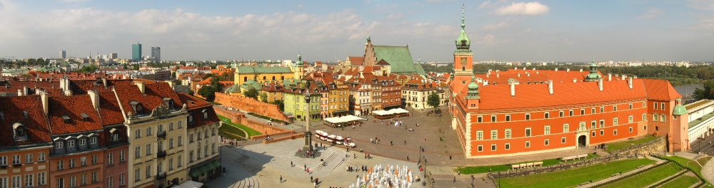 A panorama of Warsaw's Castle Square. Everything was rebuilt after World War II.
