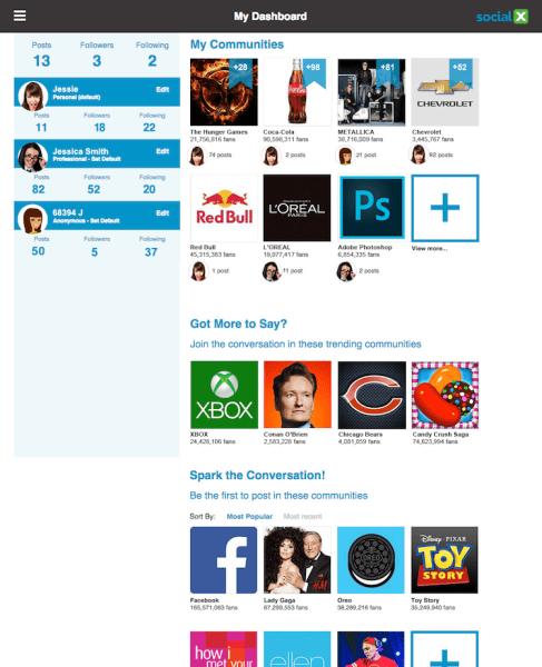 A mockup Social X screen
