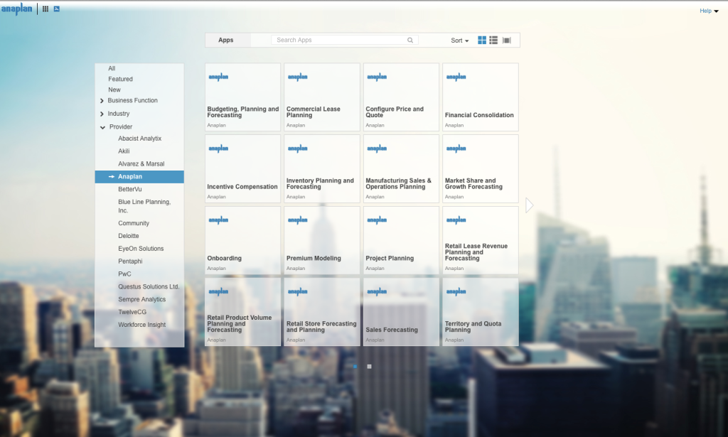 A screen in Anaplan's new App Hub