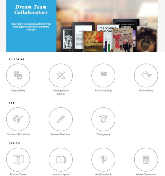 Screenshot of Blurb's Dream Team marketplace.