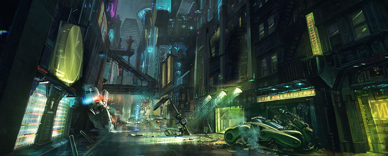 Concept art for the Cyberpunk 2077 trailer from Platige Image.