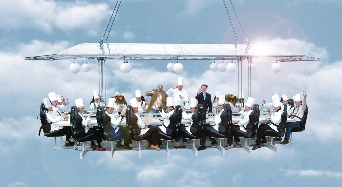 An actual crane-lifted pop-up dinner in the sky