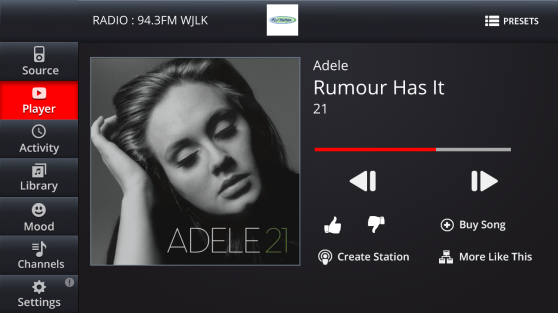 A sample user interface screen shot for Gracenote's new Entourage Radio connected car platform.
