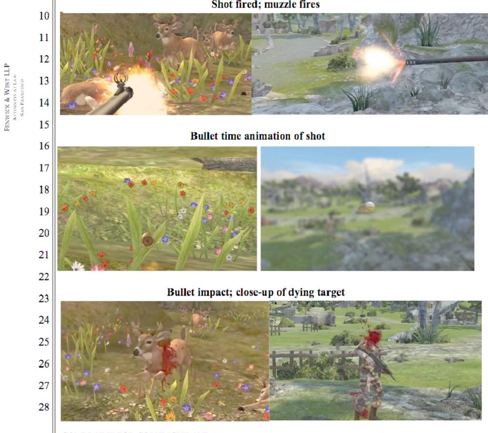 Glu alleges Kill Shot, right, copies Deer Hunter 2014, left.