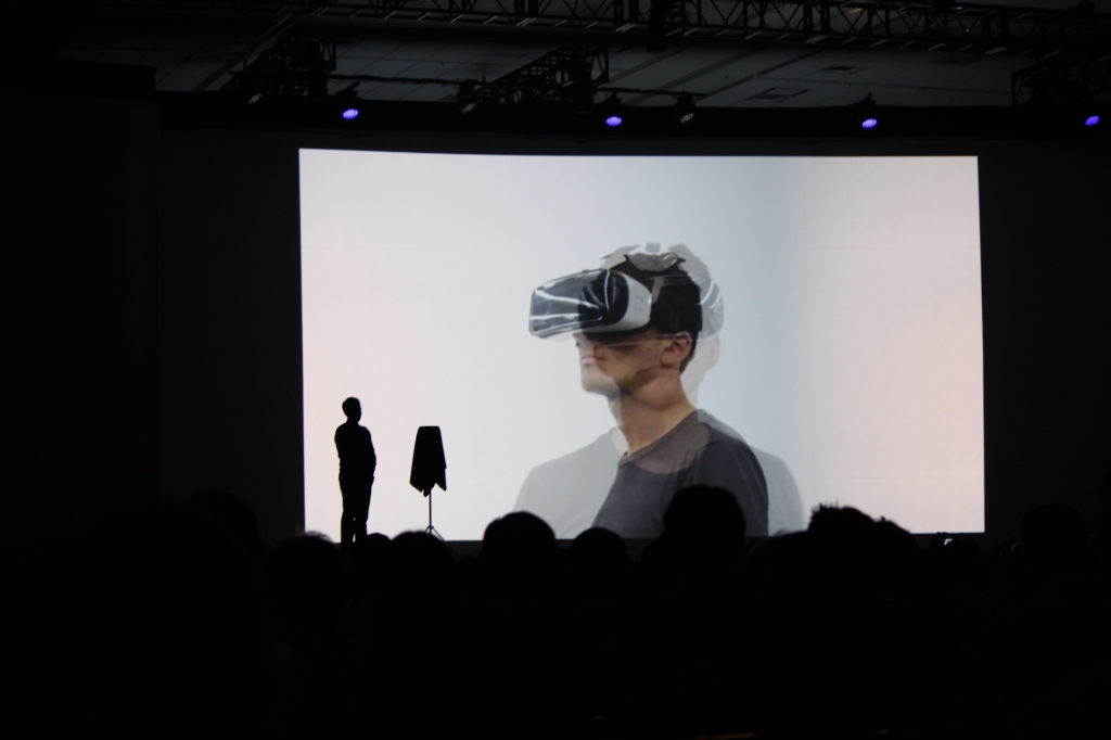 Samsung VR on the big screen at SDC in San Francisco.