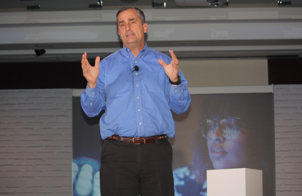 Intel CEO Brian Krzanich at a wearable tech event.