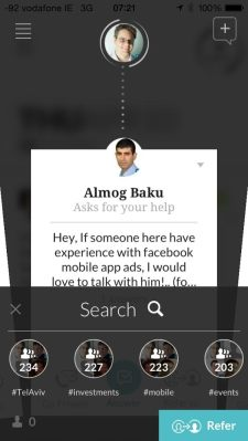 A screenshot of the Karma app, which connects Israeli entrepreneurs to one another.