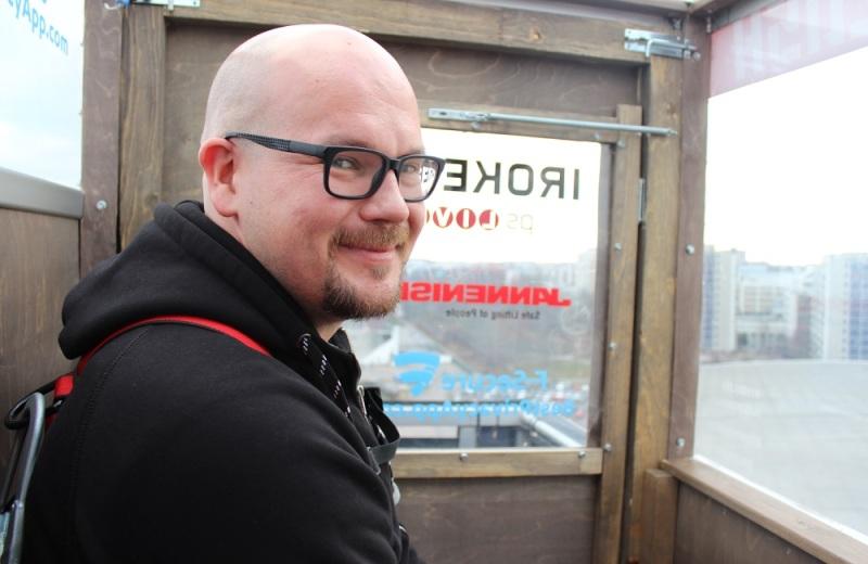 Matias Myllyrinne in a sauna, 300 feet above Helsinki.