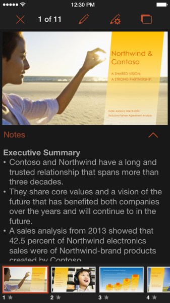 PowerPoint for iPhone Presenter View
